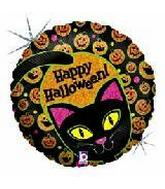"18"" Black Cat Happy Halloween Prismatic"