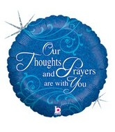 "18"" Holographic Thoughts & Prayers Foil Balloon"