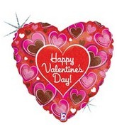 "36"" Valentine Chocolate Hearts Mylar Balloon"