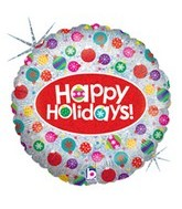 "18"" Sparkling Ornaments Happy Holidays Balloon"