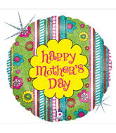 "18"" Swirly Garden Happy Mother&#39s Day Balloon"