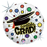 "18"" Bursting Dots Grad Balloon"