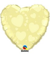 "18"" Ivory heart Shaped Mylar Balloon"