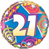 "18""  21st Birthday Stars & Swirls Balloon"