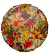 "18"" Harvest Leaves Gold Foil Balloon"