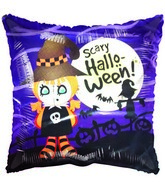 "18"" Scary Halloween Witch & Scarecrow Purple Balloon"