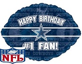 "18"" Happy Birthday #1 Fan Dallas Cowboys"