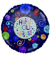 "18"" Happy Holidays Pattern circles Purple Balloon"