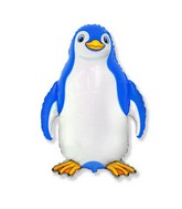 "24"" Blue Happy Penguin Shaped Balloon"