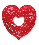 "24"" I Love You Red Heart Shaped Pink Hearts Balloon"