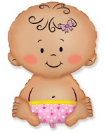Jumbo Baby Girl in Pink Diaper Balloon