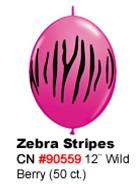 "12"" Qualatex Latex Quicklink  Zebra Wild Berry 50 Count"