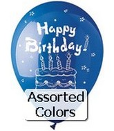 "12"" Standard Assorted . ""Happy Birthday"" Latex 6 CT"