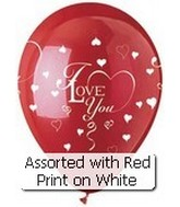 "12"" Red/White Hearts ""I Love You"" Latex 50&#39s"