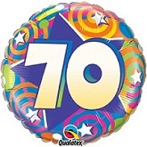 "18""  70th Birthday Stars & Swirls Balloon"