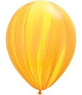 "11"" Yellow Orange Rainbow Super Agate Latex Balloons"