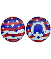 "18"" Republican Party Logo Patriotic US Flag Colors Balloon"