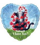 "18"" Kitty I Love You Foil Balloon"
