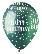 "12"" HBD Stars Crystal Green Latex 50Count"