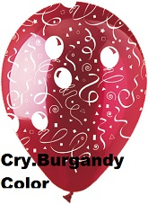 "12"" Festive Streamers Crystal Burgandy Latex 50Count"