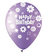 "12"" HBD Dots & Daisies Lavender Latex 50 Count"