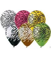 "12""  Zebra Print Assortment Latex  Balloons (50 pack)"