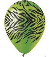 "12"" Zebra Print Lime Green Latex  Balloons (50 pack)"