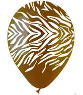 "12"" Zebra Print Brown Latex  Balloons (50 pack)"