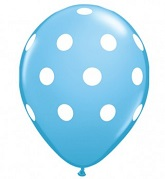 "12"" Light Blue with White Polka Dot Latex 50&#39s"