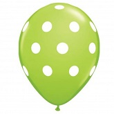 "12"" Lime Green with White Polka Dot Latex 50&#39s"