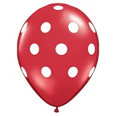 "12"" Crystal Red with White Polka Dot Latex 50&#39s"