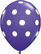 "12"" Purple with White Polka Dot Latex 50&#39s"