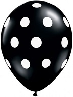 "12"" Black with White Polka Dot Latex 50&#39s"