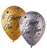 "12"" Gold/Silver ""Happy New Year""s Latex"