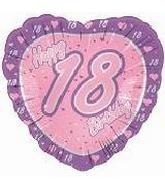 "18"" Happy 18th Birthday Pink Heart"