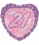 "18"" Happy 21st Birthday Pink Heart"
