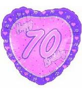 "18"" Happy 70th Birthday Pink Heart"