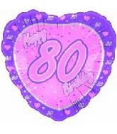 "18"" Happy 80th Birthday Pink Heart"
