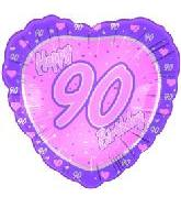 "18"" Happy 90th Birthday Pink Heart"