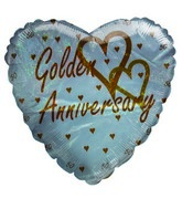 "18"" Happy 50 Anniversary Golden Hearts Holographic Balloon"