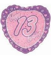 "18"" Happy 13th Birthday Pink Heart"
