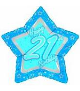 "21"" Happy 21st Birthday Blue Star"