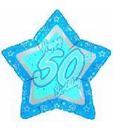 "18"" Happy 50th Birthday Blue Star"
