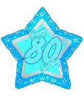 "21"" Happy 80th Birthday Blue Star"