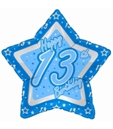 "18"" Happy 13th Birthday Blue Star"