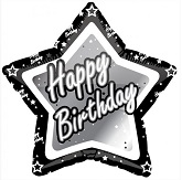 "18"" Happy Birthday Black and Silver Star"