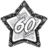 "18"" Happy 60th Birthday Blk/Silver Star"