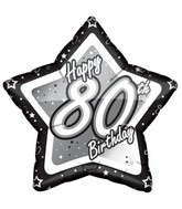 "18"" Happy Birthday 80th Black Star Mylar Balloon"