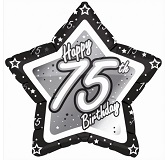"18"" Happy Birthday 75th Black Star"