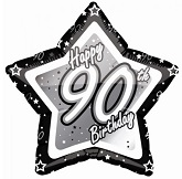 "18"" Happy Birthday 90th Black Star"
